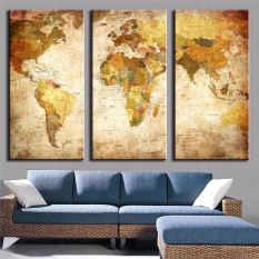 Wall design for sale wall art prices brands review in luxry 3 pieces modern oil painting on canvas with world map homd decoration no frame gumiabroncs Gallery
