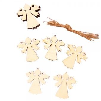 MagiDeal 10pcs Plywood Blank Angel Shape Embellishment Tag Christmas Tree Decoration - intl