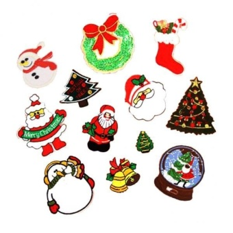 MagiDeal 12 Pieces Christmas series Embroidered Applique Iron On Patches - intl