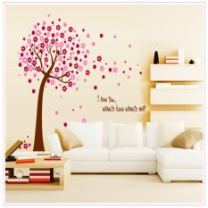 Manila Appliance Waterproof Removable DIY Pink Floral Tree Wallpaper Sticker Home Decoration Kids Room Bedroom Study