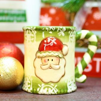 Merry & Bright Collectible Christmas Santa Claus Stripes Holder Mug