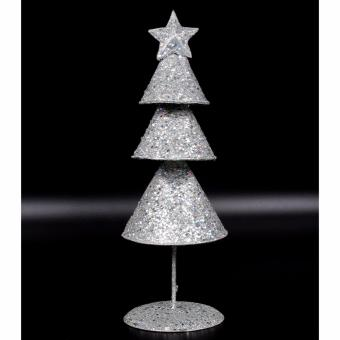 Merry & Bright Cone Christmas Table Stand Décor (Silver)