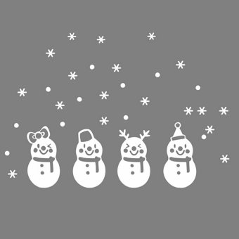 Merry Christmas Snowman Wall Sticker Window Decor Vinyl Decals Snowflake Removeable Home - Intl