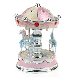 Merry-Go-Round Music Box Christmas Birthday Gift Carousel Music Box  (Pink)