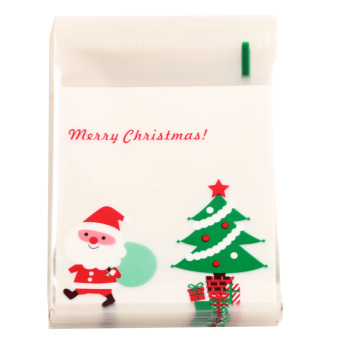 Merry Xmas Santa Cellophane Cello Bags Cookies Candy Christmas Gift Bags 100Pcs