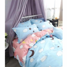 MODERN SPACE High Quality Bedsheet Queen Size With FREE Two Pillow Cases  Moon Printed Design