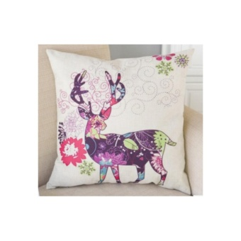 Mulricolor Deer Cushion Pillowcase Cotton Linen Comfortable Pillow Cover Christmas Decor - intl