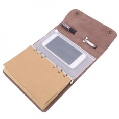 Multi-use Fashion DIY Notebook A6 Genuine Leather Diary Journal Spiral Loose Notepad Brown 18.5