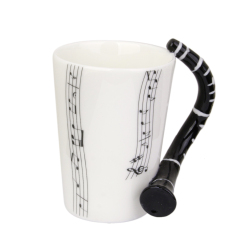 Music Mug with Clarinet Shaped Handle Porcelain Cup Music Note