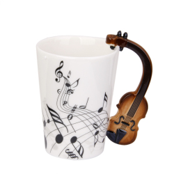Music Mug with Violin Shaped Handle Porcelain Cup Black Note