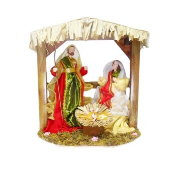 Nativity in a Manger Christmas Decor with Red Clothes