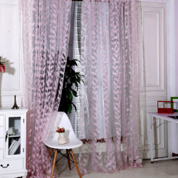 New Floral Tulle Voile Door Window Curtain PInk