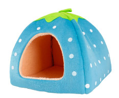 niceEshop Blue Soft Sponge White Dots Strawberry Pet Cat Dog House Bed With Warm Plush Pad (L) (Intl) Philippines