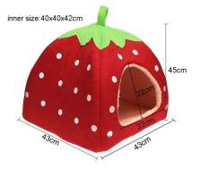 niceEshop Cute Soft Sponge White Dots Strawberry Pet Cat Dog House Bed With Warm Plush Pad (Red ,L) - Intl Philippines