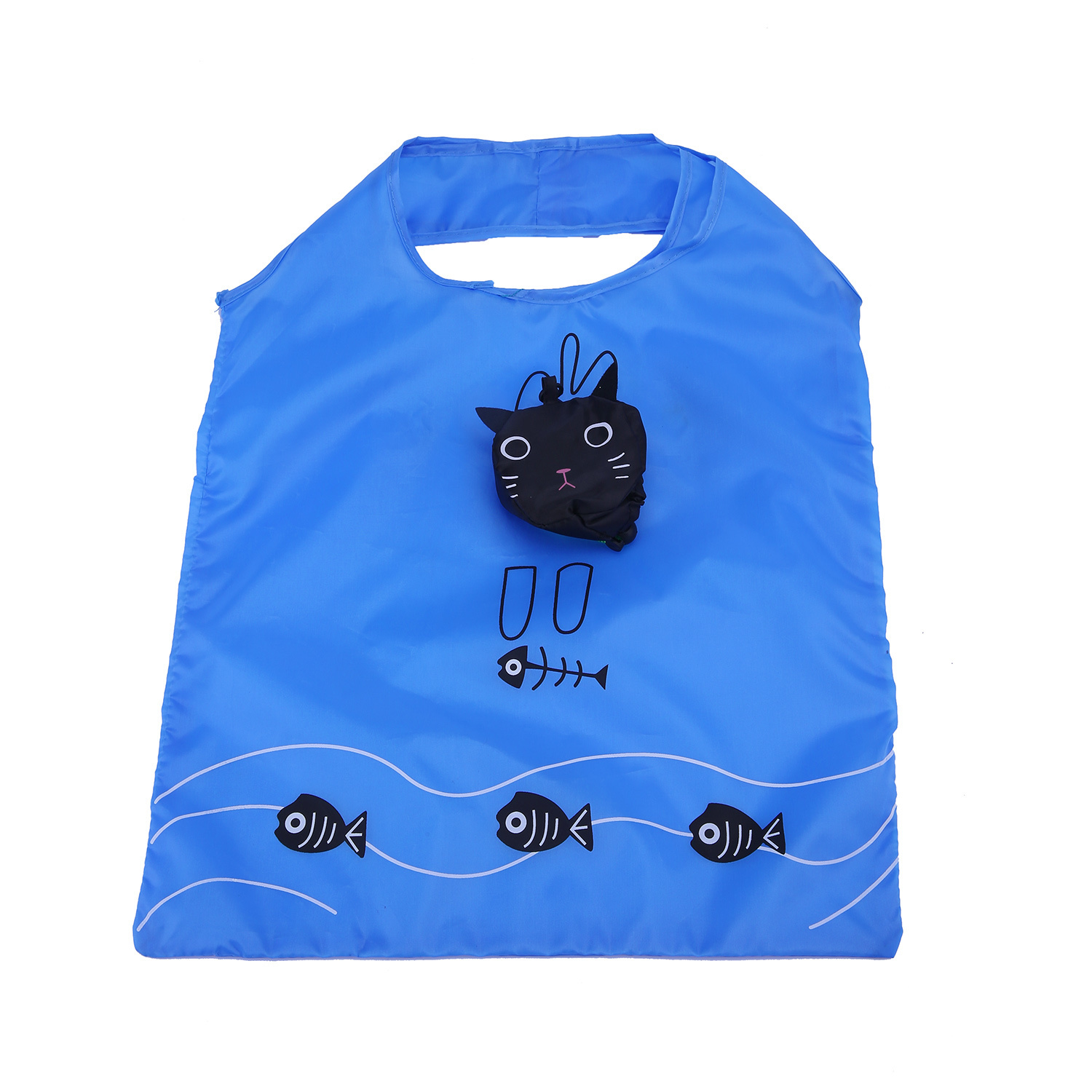 niceEshop Eco Shopping Bag Foldable Cat Blue and Black