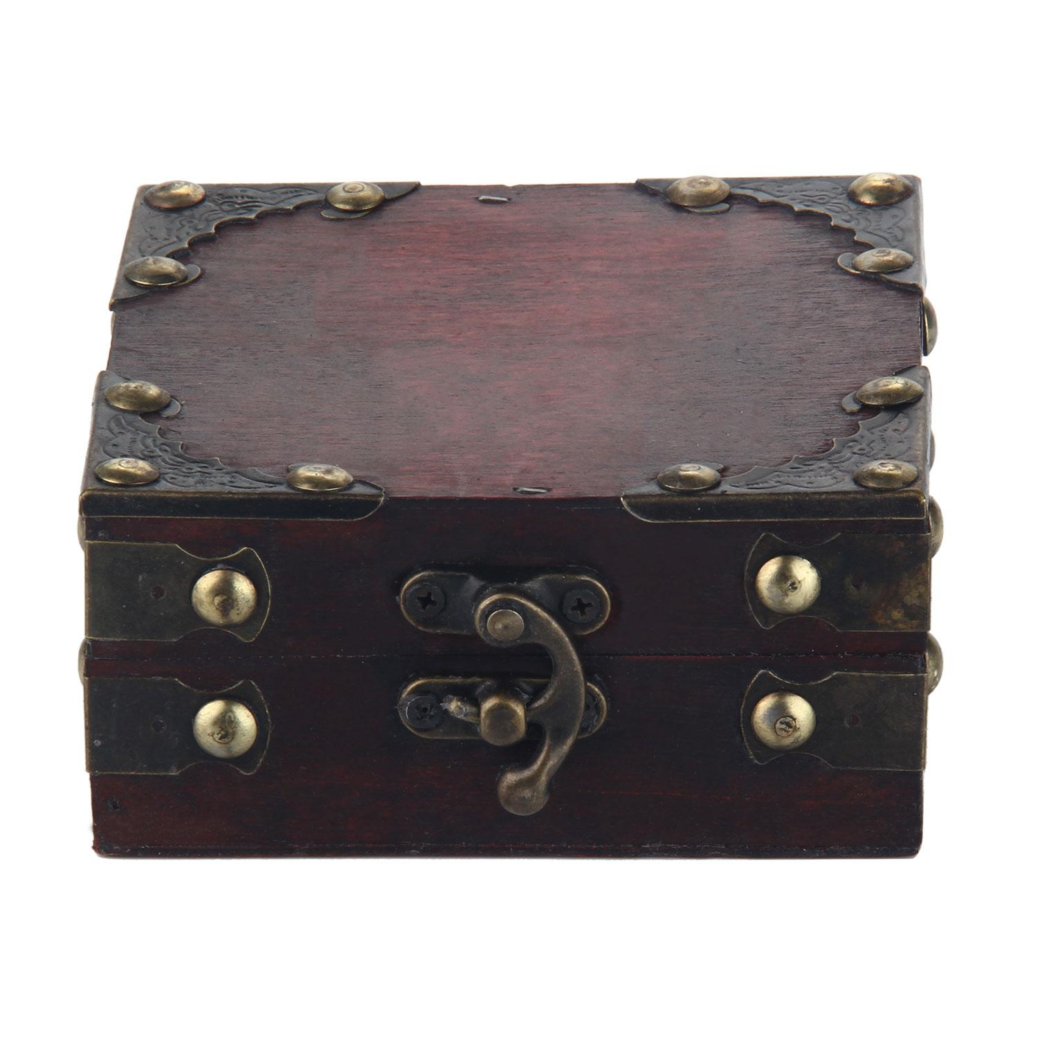 niceEshop Women Brown Retro Old Stye Unique Wooden Jewelry Box Case