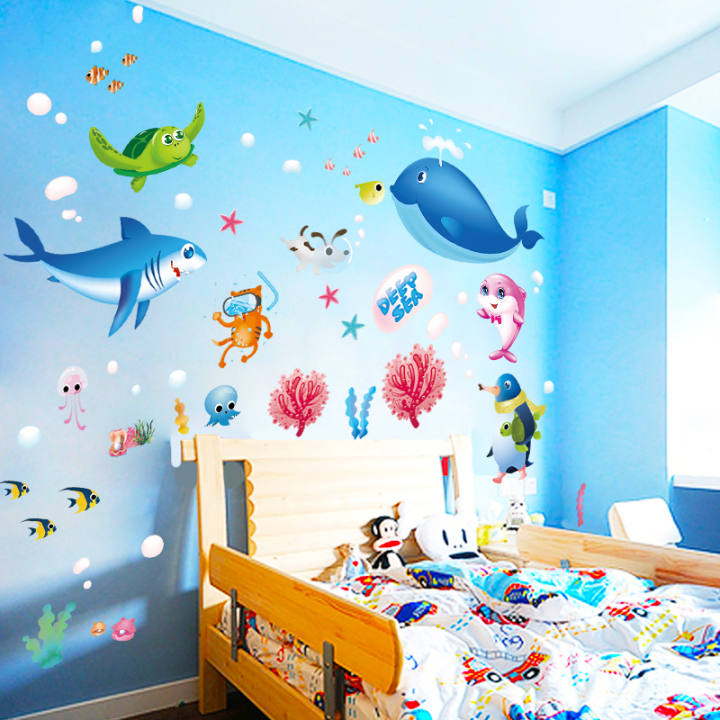 YOOCUN Self Adhesive Waterproof Ocean Animals Wall Stickers for Children