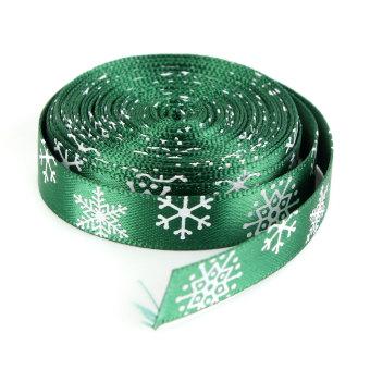 OEM Multi-Pattern 5 Yards 3/8''10mm Merry Christmas Tree Grosgrain Ribbon Gift Decor (Green)