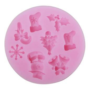 ooplm Christmas Tree Snowflakes Shape DIY Cake Decorating Fondant Silicone Sugar Craft Molds,Random Color