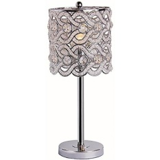 Park Madison Lighting PMT 1206 15 Contemporary Crystal Table Lamp With  Polished Chrome Finish