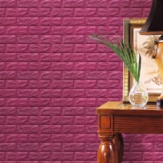 PE Foam 3D Wallpaper DIY Wall Stickers Wall Decor Embossed Brick Stone Red Wine - intl