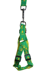 Petpals Paws Pattern Dog Leash Harness (Yellow/Green)