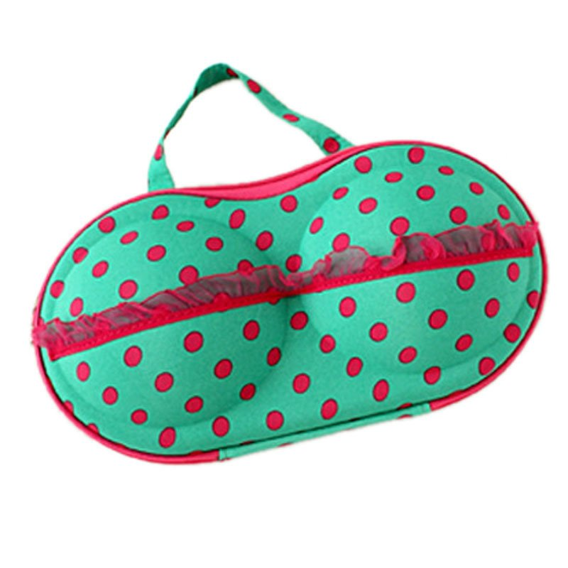 Polka Dot Protect Bra Underwear Lingerie Case Travel Bag Storage Box (Green) product preview, discount at cheapest price