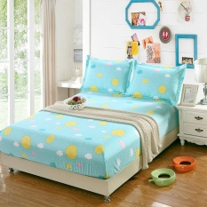 Polyester Anti Slip Bed Fitted Sheet With Elastic Cheap Printed Bedsheet  For Student Sheets Double ...