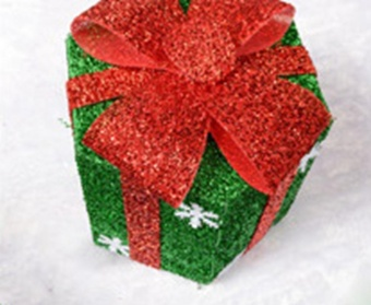 Pontus Snowflake Sisal PVC Hexagon Gift Boxes Christmas Party Yard Art Decorations Green 15cm Creative - intl