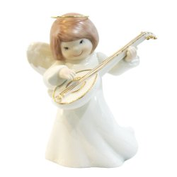 Porcelain Baby Angel with Banjo Musical Instrument