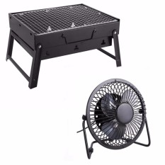 Portable Stainless Steel Barbecue Grill Pits (Black) With Super Mute 360  Degree Rotating Metal ...