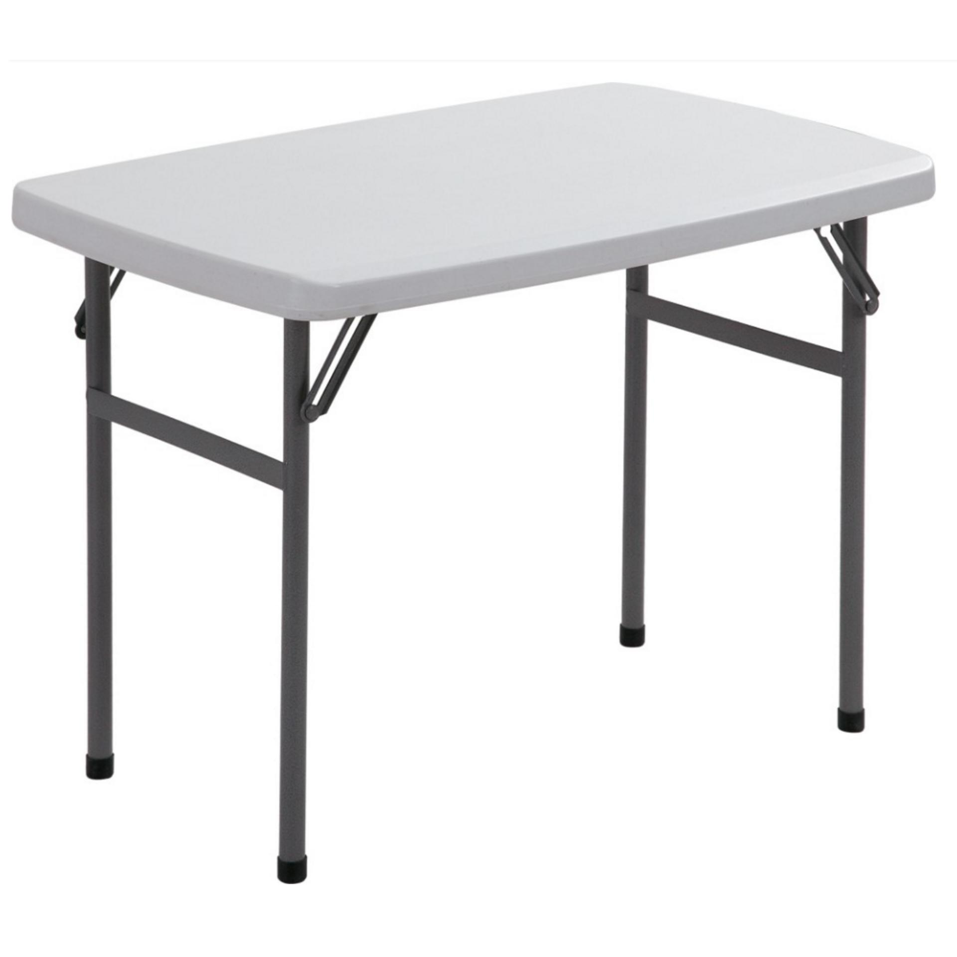 Primetime L30xw20x H23 Rectangular Solid Plastic Top Folding Outdoor Picnic Side Table (white) By Direct2u.
