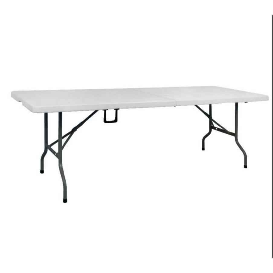 Primetime 6 Ft. Rectangular Fold-In-Half Multi-Purpose Folding Plastic Table (pure White) By Direct2u.