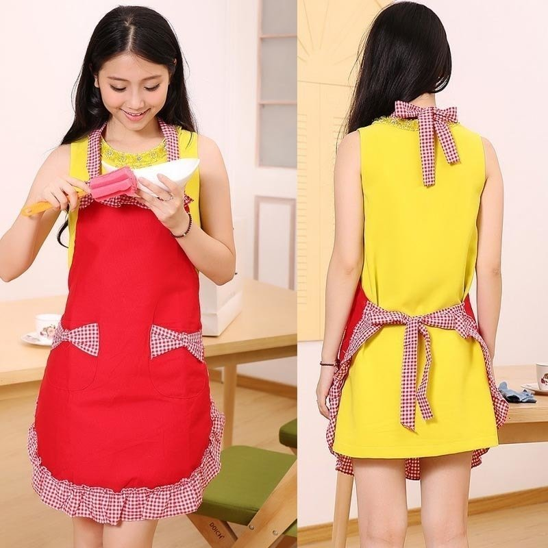 Princess Bow Canvas Apron Home Kitchen Restaurant Bib with Pocket Feat (Red) product preview, discount at cheapest price