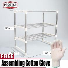 Prostar 3 Tier Stainless Steel Microwave Stand / Shelving / Racking With Free Gloves By The Store.