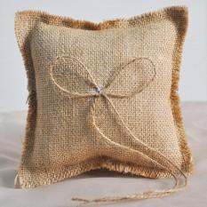 qimiao 15x15cm rustic burlap ring bearer pillow for wedding supplies intl