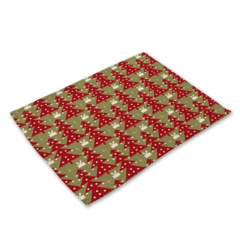 Rectangular Placemat Christmas Trees Pattern Kitchen Dining Table Pad Tableware Coaster - intl