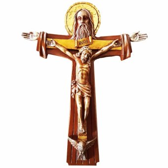 Religious Item Holy Trinity God the Father, Jesus Christ, and Holy Spirit Bronze Finish Wall Cross Wall Cross (Made of Fiberglass Resin) by Everything About Santa (Christmas decoration and gift suggestion)