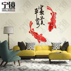 3D Wall Stickers Rich Safeness Acrylic Crystal Gold And Silver Mirror Fish Decoration Living Room Television