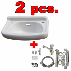 Royal Tern Ceramic Lavatory Wash Basin White with Plumbing Accessories Set of 2 Philippines