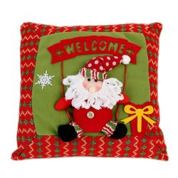 S & F Christmas Pillow With Pattern Snowman Santa Claus Cotton Embroidered Pillow Hold Pillow Christmas Decorations Item Gift Navidad- Intl