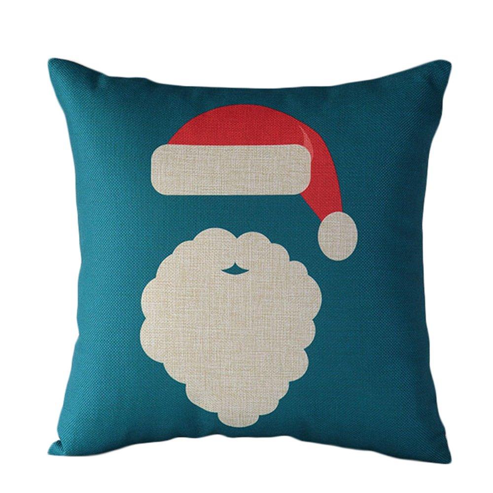 Santa Claus reindeer Christmas red and blue cotton pillowcase- Intl - thumbnail