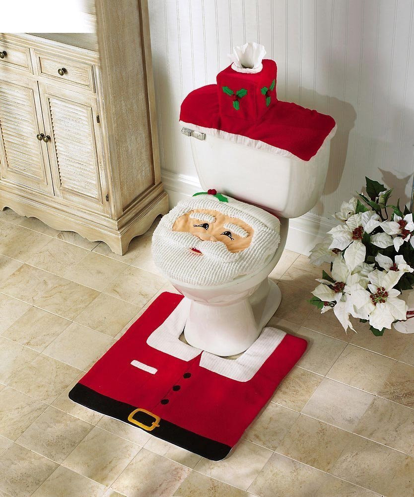 Santa Claus Toilet Seat Cover with Rug Bathroom Mat Set Christmas Decorations (Red) - Intl product preview, discount at cheapest price