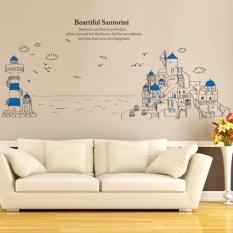 Santorini Scenic Shore Vinyl Wall Decal PVC Home Sticker HousePaper  Decoration WallPaper Living Room Bedroom Kitchen
