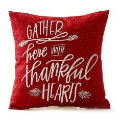 Season Blessing Gather Here With Thankful Hearts In Red Thanksgiving Gifts Cotton Linen Throw Pillow Case