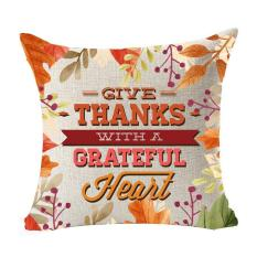 Season Blessing Maple Leaves Give Thanks With A Grateful Heart Thanksgiving Gifts Cotton Linen Throw Pillow