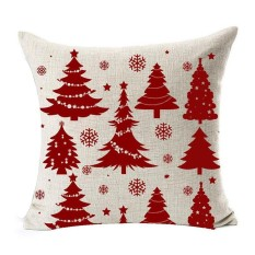 Season Blessing Various Beautiful Red Christmas Tree Snowflakes Merry Christmas Gifts flax Throw Pillow Case Cushion
