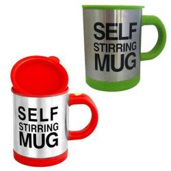 Self Stirring Coffee Mug Gift Set of 2 (Green/Red)