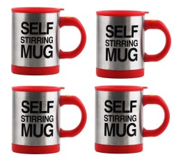 Keimav Self Stirring Coffee Mug Gift Set of 4 (Red)