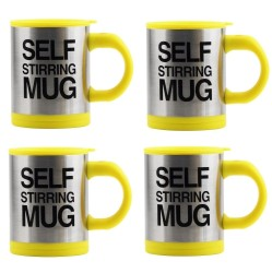 Keimav Self Stirring Coffee Mug Gift Set of 4 (Yellow)